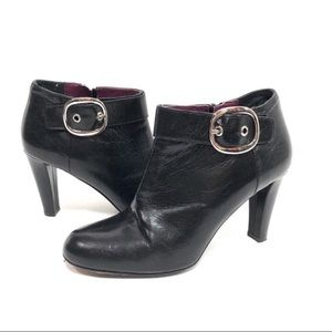 Coach Black buckle heeled ankle booties Nicolete